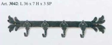 Kovaný věšák na zeď dlouhý model 3042