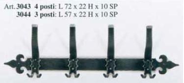 Kovaný věšák na zeď dlouhý model 3043